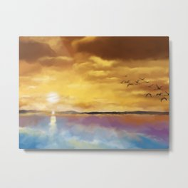Sunset Travelers Metal Print