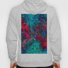 psychedelic geometric triangle abstract pattern in pink red blue Hoody