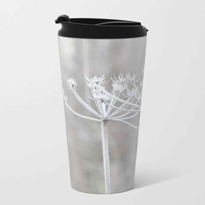 cow parsley plant  with hoarfrost in winter Metal Travel Mug