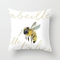 craftberrybush Throw Pillows featuring l'abeille  by craftberrybush