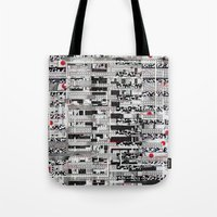 u2 Tote Bags featuring Opportunistic Species (P/D3 Glitch Collage Studies) by Wayne Edson Bryan