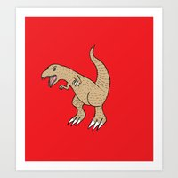 t rex Art Prints featuring t rex by Dore