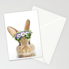 Bunny Flowers Crown Art Print by Zouzounio Art Stationery Cards
