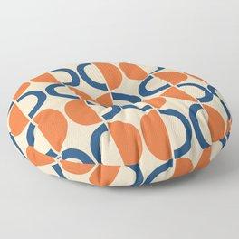 Mid Century Modern Half Circle Pattern 534 Beige Blue and Orange Floor Pillow
