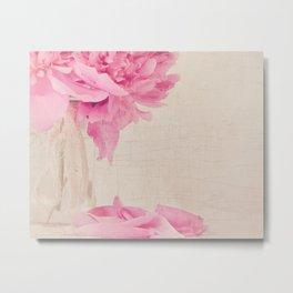 Pink Peony and Petals Metal Print