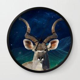 Low-Poly Kudu King Wall Clock