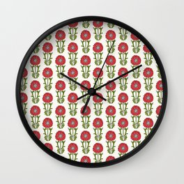 Dot Floral in Red Wall Clock