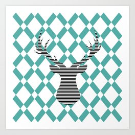 Deer - Abstract geometric pattern - blue and white. Art Print