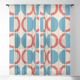 Mid Century Modern Half Circle Pattern 528 Beige Red and Cyan Sheer Curtain