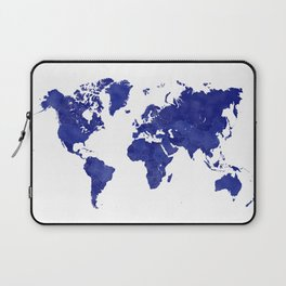 Vintage navy blue world map Laptop Sleeve