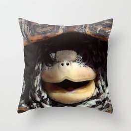 Watercolor Turtle Diamondback Terrapin 01, Look Who! Throw Pillow