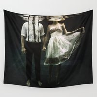 woman Wall Tapestries featuring abyss of the disheartened : IV by Heather Landis
