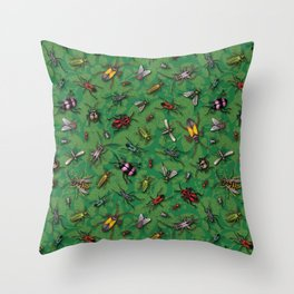 Bugs & Insects on Green Floral Background Throw Pillow