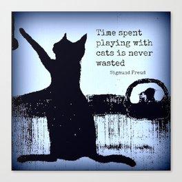Blue cat art, black cat, sigmund freud, cat quotes Canvas Print