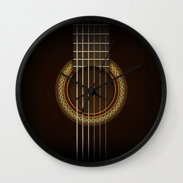 Full Guitar Black Wall Clock