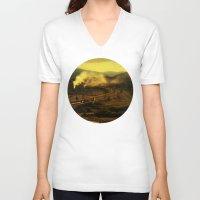 train V-neck T-shirts featuring train by MartaSyrko