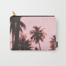 Tropical palm trees on beige pink Carry-All Pouch