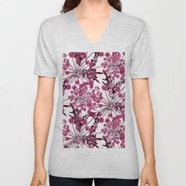 Laced crimson flowers on a white background. Unisex V-Neck