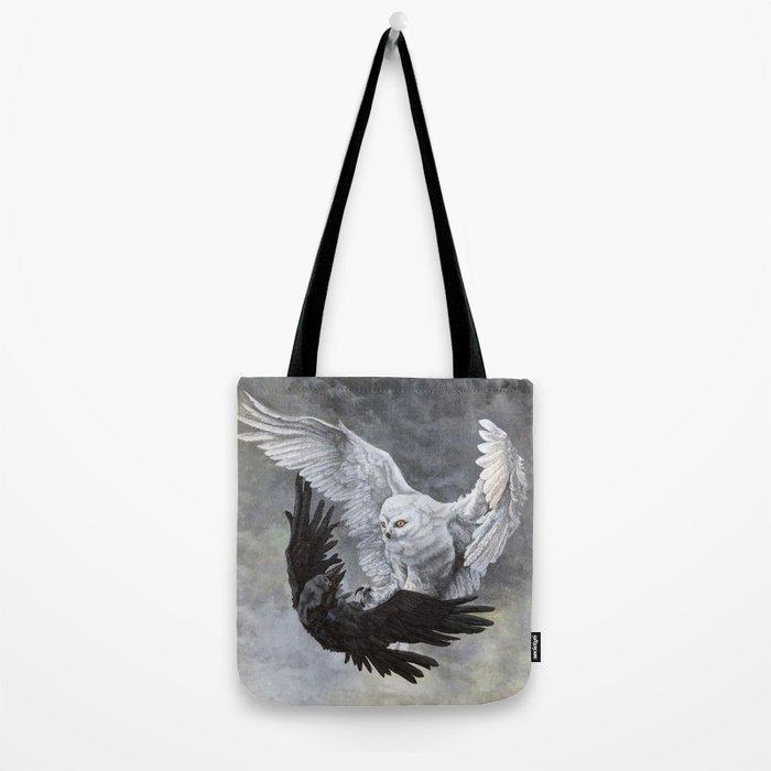 Yin Yang Owl and Raven Tote Bag