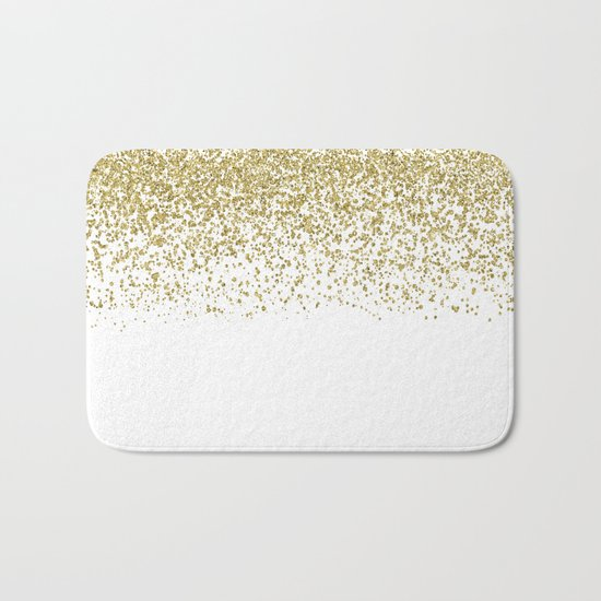 Sparkling gold glitter confetti on simple white background- Pattern #Society6 Bath Mat