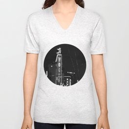 Granville St after dark 3 Unisex V-Neck
