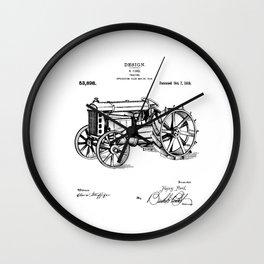 Patent Print 1919 Farm Tractor Black Wall Clock