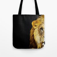 nfl Tote Bags featuring Lion Art - Face Off by Sharon Cummings