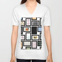 frames V-neck T-shirts featuring Wall of Frames by Natalie North