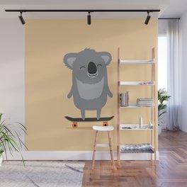 Cute cartoon koala skateboarding Wall Mural