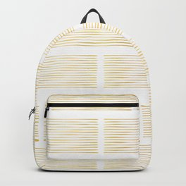 Luxury Gold Foil Geometric Stripes Vector Pattern Hand Drawn Abstract Lines Backpack