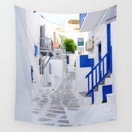 Beautiful Whitewashed Street Mykonos Greece Wall Tapestry