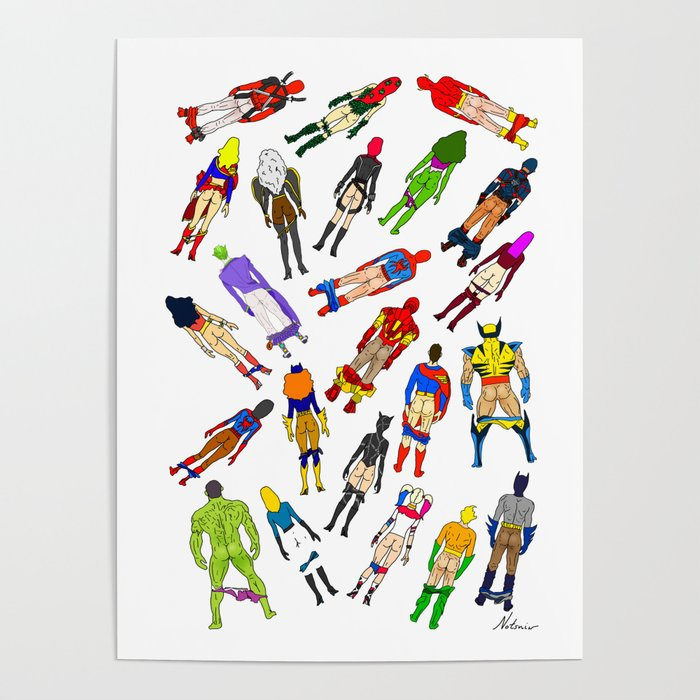 Superhero Butts with Villians - Light Pattern Poster