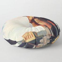 Vintage 1920s Agrigento Italian travel ad Floor Pillow