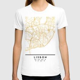LISBON PORTUGAL CITY STREET MAP ART T-shirt