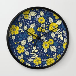 Yellow & Blue Floral Pattern Wall Clock