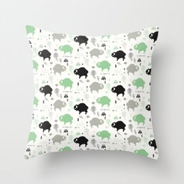 Seamless pattern with cute baby buffaloes and native American symbols, white Throw Pillow