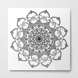 Mandala Dentelle black By Sonia H. Metal Print