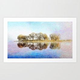 Esthwaite Morning Reflections, Lake District, Cumbria, England. Watercolor Painting. Art Print