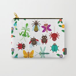 Funny insects Spider butterfly caterpillar dragonfly mantis beetle wasp ladybugs Carry-All Pouch