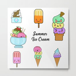 Summer Ice Cream Metal Print