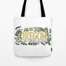 Oregon State Motto Bird Flower Nature Hand Drawn Art Tote Bag