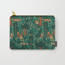 Foxes Playing in the Emerald Forest Carry-All Pouch