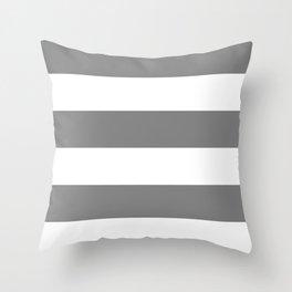 Wide Horizontal Stripes - White and Gray Throw Pillow