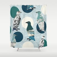 polka Shower Curtains featuring Penguin Polka by Paula Belle Flores