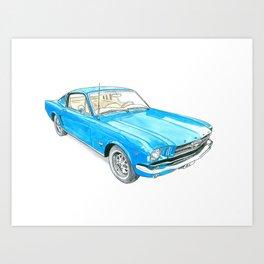 65 Mustang Fastback Art Print