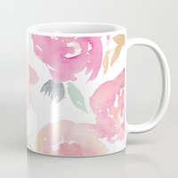jenna kutcher Mugs featuring Muted Floral Watercolor Design  by Jenna Kutcher
