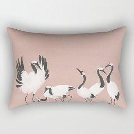 Crane Dance - Mauve Pink Rectangular Pillow