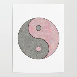 Yin Yang Esoteric Symbol Pastel Pink And Grey Poster