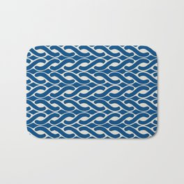 Abstract Chain Link Nautical Pattern in Classic Blue and Beige Bath Mat