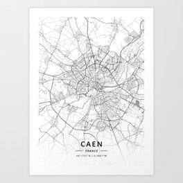Caen, France - Light Map Art Print